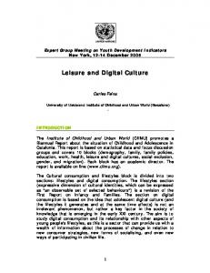 Leisure and Digital Culture