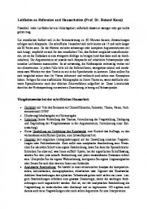 Leitfaden zu Referaten und Hausarbeiten (Prof. Dr. Roland Kanz)