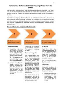 Leitfaden zur Bachelorarbeit im Studiengang Wirtschaftsrecht (WRB)
