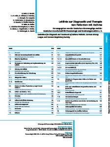 Leitlinie zur Diagnostik und Therapie von Patienten mit Asthma