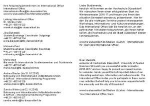 Leitung International Office Dr. Monika Katz