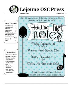 Lejeune OSC Press INSIDE THIS ISSUE: ADVERTISERS: