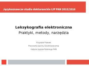 Leksykografia elektroniczna Praktyki, metody, narzędzia
