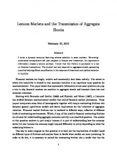 Lemons Markets and the Transmission of Aggregate Shocks