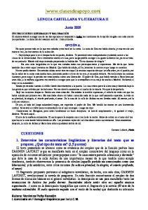 LENGUA CASTELLANA Y LITERATURA II. Junio 2005