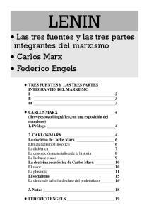 LENIN Las tres fuentes y las tres partes integrantes del marxismo Carlos Marx Federico Engels