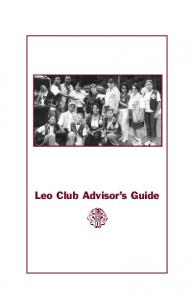 Leo Club Advisor s Guide