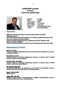 LEONTIDES Leonidas Professor Veterinary Epidemiology