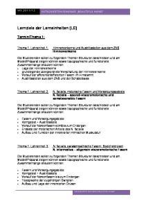 Lernziele der Lerneinheiten (LE)