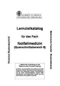 Lernzielkatalog. Notfallmedizin (Querschnittsbereich 8)