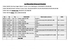 Les Miserables Rehearsal Schedule