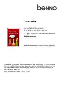Leseprobe. Ach du liebe Weihnachtszeit Unterhaltsame Geschichten zum Fest. Mehr Informationen finden Sie unter st-benno.de
