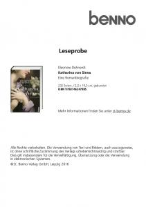 Leseprobe. Eleonore Dehnerdt Katharina von Siena Eine Romanbiografie. Mehr Informationen finden Sie unter st-benno.de