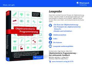 Leseprobe. Objektorientierte Programmierung Das umfassende Handbuch