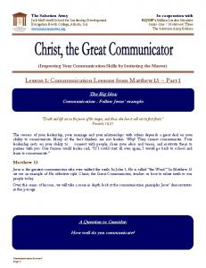 Lesson 1: Communication Lessons from Matthew 13 ~ Part 1