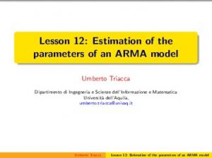Lesson 12: Estimation of the parameters of an ARMA model