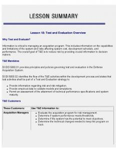 Lesson 18: Test and Evaluation Overview
