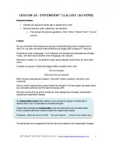LESSON 26: DEPENDENT CLAUSES (ADVERB)