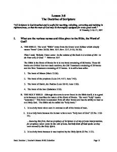 Lesson 3-8 The Doctrine of Scripture