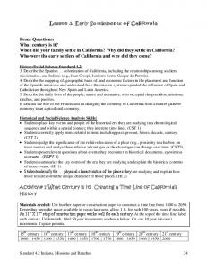 Lesson 3: Early Settlements of California