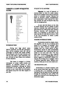 LESSON 4: CADET ETIQUETTE GUIDE