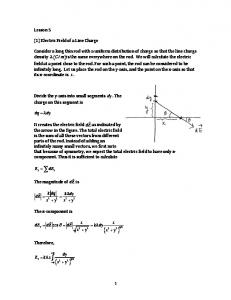 Lesson 5. (1) Electric Field of a Line Charge