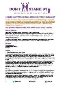 Lesson activity: British Heroes of the Holocaust