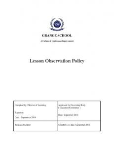 Lesson Observation Policy