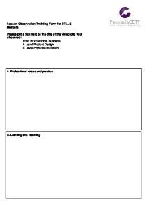 Lesson Observation Training Form for DTLLS Mentors