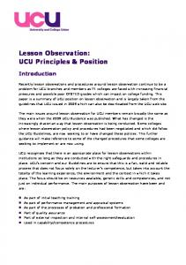 Lesson Observation: UCU Principles & Position