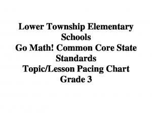 Lesson Pacing Chart Grade 3