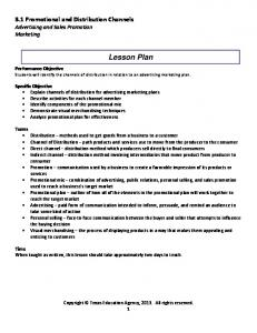 Lesson Plan. 3.1 Promotional and Distribution Channels Advertising and Sales Promotion Marketing