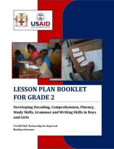 LESSON PLAN BOOKLET FOR GRADE 2