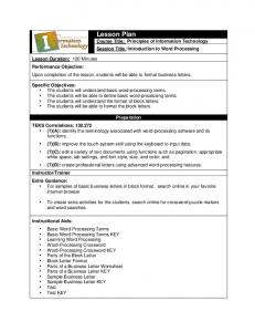 Lesson Plan Course Title: Principles of Information Technology Session Title: Introduction to Word Processing