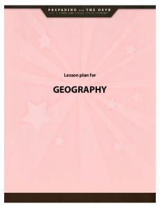 Lesson plan for GEOGRAPHY