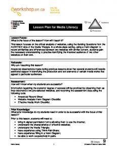 Lesson Plan for Media Literacy