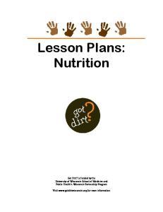 Lesson Plans: Nutrition