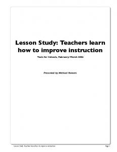 Lesson Study: Teachers learn how to improve instruction