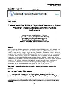 Lessons from Fred Bailey s Expatriate Experience in Japan: Proactively Preparing Employees for International Assignments