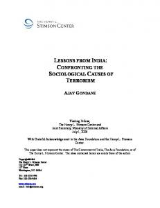 LESSONS FROM INDIA: CONFRONTING THE SOCIOLOGICAL CAUSES OF TERRORISM