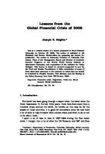 Lessons from the Global Financial Crisis of 2008