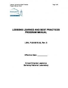 LESSONS LEARNED AND BEST PRACTICES PROGRAM MANUAL