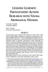 Lessons Learned: Participatory Action Research with Young Aboriginal Women