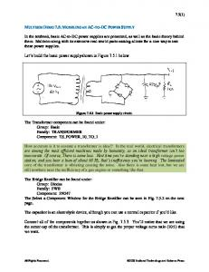 Let s build the basic power supply shown in Figure below. Figure Basic power supply circuit