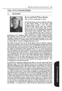 LET US REMEMBER. Reverend Paul Wilson Bowles May 2, 1927 to September 8, 2010 A. MEMOIRS