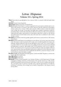 Letras Hispanas Volume 10.1, Spring 2014