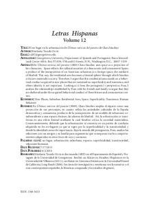 Letras Hispanas Volume 12