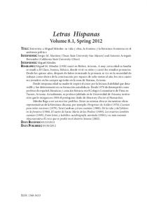 Letras Hispanas Volume 8.1, Spring 2012