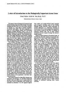 Letter of Introduction to the Biologically Important Areas Issue