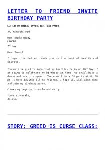 LETTER TO FRIEND INVITE BIRTHDAY PARTY